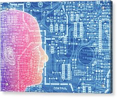 Printed Circuit Board And Wireframe Head Acrylic Print by Alfred Pasieka