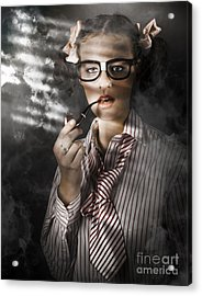 Private Eye Detective Smoking At Crime Scene Acrylic Print by Jorgo Photography - Wall Art Gallery