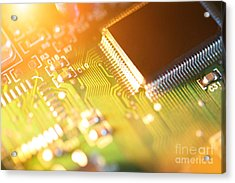 Processor Chip On Circuit Board Acrylic Print by Konstantin Sutyagin