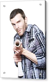 Professional Plumber Troubleshooting Blocked Pipe Acrylic Print by Jorgo Photography - Wall Art Gallery
