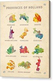 Provinces Of Holland Acrylic Print by Big City Artwork