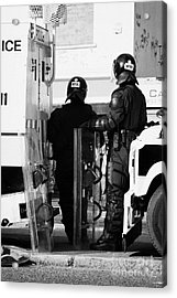Psni Officers In Protective Riot Gear At Landrovers On Crumlin Road At Ardoyne Shops Belfast 12th Ju Acrylic Print by Joe Fox