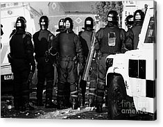 Psni Riot Officers Watch Rioting On Crumlin Road At Ardoyne Shops Belfast 12th July Acrylic Print