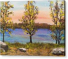 Ptg   Adirondack Lake Acrylic Print by Judy Via-Wolff