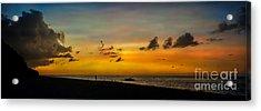 Puka Beach Sunset Acrylic Print by Adrian Evans