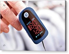 Pulse Oximeter Acrylic Print by Dr P. Marazzi/science Photo Library