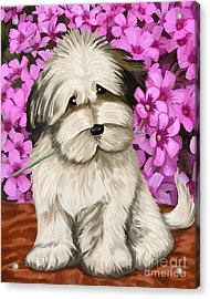 Acrylic Print featuring the painting Puppy In The Flowers by Tim Gilliland