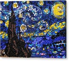 Quilled Starry Night Acrylic Print by Suzy Myers
