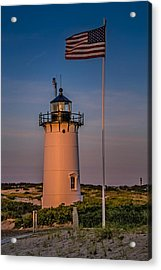 Race Point Lighthouse And Old Glory Acrylic Print by Susan Candelario