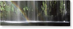 Rainbow Formed In Front Of Waterfall Acrylic Print