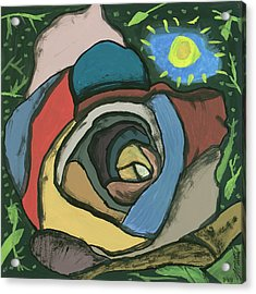 Acrylic Print featuring the painting Rainbow Rose by Artists With Autism Inc