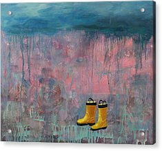 Rainy Day Galoshes Acrylic Print by Guenevere Schwien