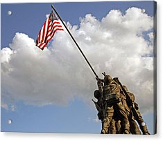 Acrylic Print featuring the photograph Raising The American Flag by Cora Wandel