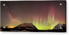Red Aurora Borealis And Milky Way Acrylic Print by Joseph Bradley