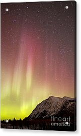 Red Aurora Borealis Over Carcross Acrylic Print by Joseph Bradley