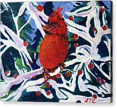 Acrylic Print featuring the painting Red Bird by Julie Todd-Cundiff