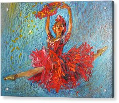 Acrylic Print featuring the painting Red Fan by Jieming Wang