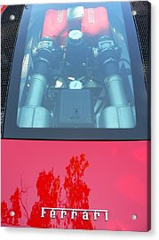 Acrylic Print featuring the photograph Red Ferrari Engine Window by Jeff Lowe