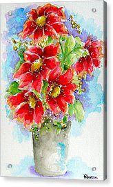 Acrylic Print featuring the painting Red Flowers by Patrice Torrillo