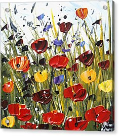 Red Poppifield Acrylic Print