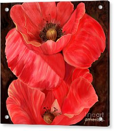 Red Poppy One Acrylic Print by Joan A Hamilton