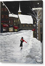 Red Scarf Winter Scene Acrylic Print by Dick Bourgault
