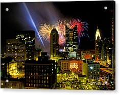 21l334 Red White And Boom Fireworks Display Photo Acrylic Print