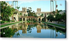 Reflecting Pool In Front Of A Building Acrylic Print by Panoramic Images