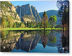 Reflections Of Yosemite Falls Acrylic Print