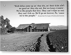 Remnants Of The Grapes Of Wrath John Steinbeck Quote Acrylic Print