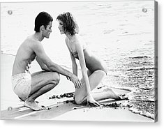 Rene Russo With A Man On A Beach Acrylic Print