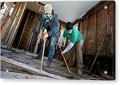 Repairing Hurricane Sandy Damage Acrylic Print by Jim West