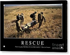Rescue Inspirational Quote Acrylic Print by Stocktrek Images