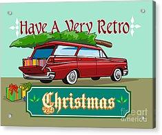 Retro Christmas Tree Station Wagon Acrylic Print by Aloysius Patrimonio