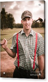 Retro Golfer Acrylic Print