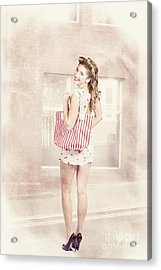 Retro Pin Up Woman Carrying Vintage Shopping Bag Acrylic Print