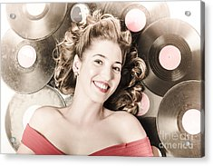 Retro Pin-up Woman With Rocking Hairstyle Acrylic Print by Jorgo Photography - Wall Art Gallery