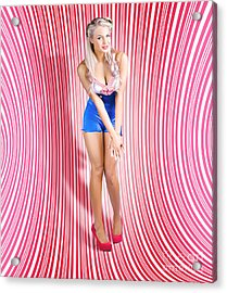 Retro Pinup Beauty On Psychedelic Background Acrylic Print