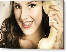 Retro Pinup Model In Gossip On Old Telephone Acrylic Print