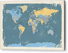 Retro Political Map Of The World Acrylic Print by Michael Tompsett