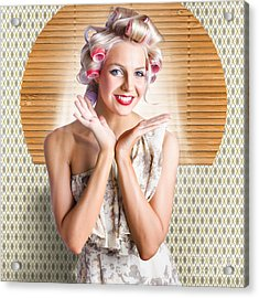 Retro Woman At Beauty Salon Getting New Hair Style Acrylic Print by Jorgo Photography - Wall Art Gallery
