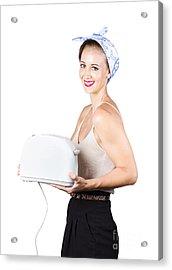 Retro Woman With Toaster Acrylic Print