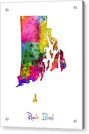 Rhode Island Watercolor Map Acrylic Print by Michael Tompsett