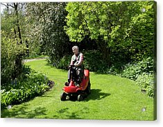 Ride-on Lawn Mower Acrylic Print by Sheila Terry