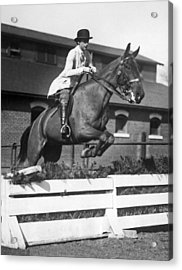 Rider Jumps At Horse Show Acrylic Print by Underwood Archives