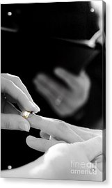 Rings Being Exchanged By A Bride And Groom Acrylic Print