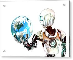 Robot Lamenting Earth Acrylic Print by Animate4.com/science Photo Libary