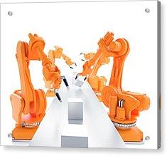 Robots On Production Line Acrylic Print by Andrzej Wojcicki
