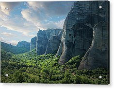 Rock Formations In The Meteora, Greece Acrylic Print