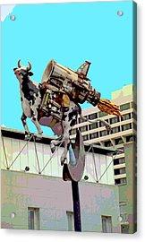 Rocket Cow Sculpture By Michael Bingham Acrylic Print by Steve Ohlsen